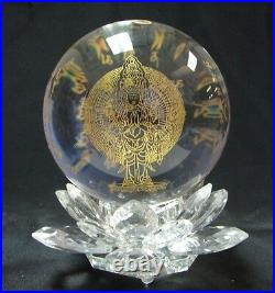 Feng Shui Thousand Armed Kuan Yin Crystal Sphere Ball With Lotus Stand