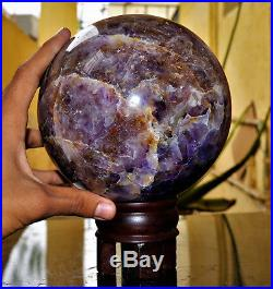 Giant Natural 185MM Blue Auralite 23 Crystal Healing Power Sphere Ball WithStand