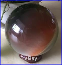 Hot Cat's Eye 100MM Crystal Ball Orb Sphere display-multicolor +Stand