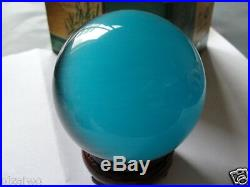 Hot Sell ASIAN QUARTZ Sky blue CAT EYE CRYSTAL BALL SPHERE 100MM + STAND AAA