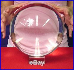 Huge 200mm Asian Rare Clear Magic Crystal Healing Ball Sphere Wood Stands Gift