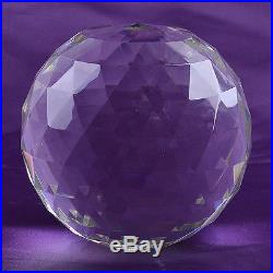 Huge Cut Crystal Sphere 200mm Faceted Gazing Ball Prisms Suncatcher wood stand
