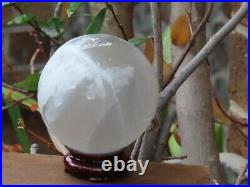 Huge Selenite Crystal Ball With Wooden Display Stand Perfect Centre Piece