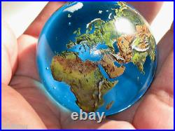 LARGE SIZE 2 Crystal Glass Earth Globe Marble Sphere Orrery
