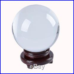 LONGWIN 200mm 8 Inch Huge Clear Feng Shui Crystal Ball Free Sphere Wooden Stand