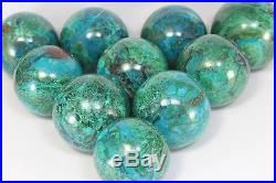 LOT OF 10 SPHERES AAA CHRYSOCOLLA with MALACHITE Crystal Sphere Ball Peru