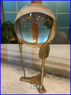 Large 5, Antique, Crystal Ball withBrass Metal Stand