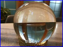 Large 5, Antique, Crystal Ball withGold Metal Stand