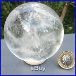 Large Authentic Clear Quartz Sphere Ball 610g dia 7.68cm Healing Reiki Scrying