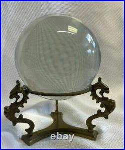 Large Heavy Clear Crystal Gazing Ball Sphere on Brass Stand Chinese Dragon Feet