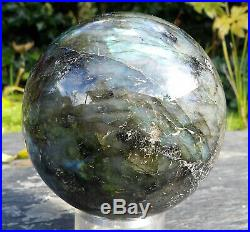 Large Labradorite Sphere, Polished Crystal Ball/Globe with stand 898g 84mm (3.5)