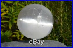 Large Moon Glow White Selenite Crystal Ball Sphere with stand 2.140Kg's