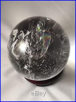Large Quartz Crystal Ball Sphere 71mm 2.78 Lots Of Rainbows, Water Clear