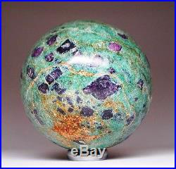 Large Ruby in Fuchsite Crystal Sphere Ball Feng Shui Home Decor SPH102