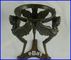 Large VTG Bronze Winged Nymph Crystal Sphere Stand Holder Candle Gemstone Ball