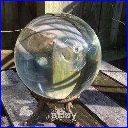 Large clear crystal ball with stand, 8 diameter