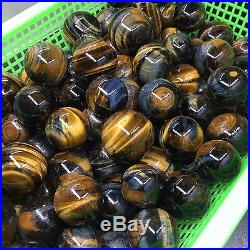 MAGIC-1KG 6PCS 40-50mm Natural Tigers Eye Stone Sphere Polished Ball Wholesale