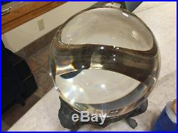 MASSIVE 8, Antique-vintage, Crystal Ball withSterling Silver Metal Stand