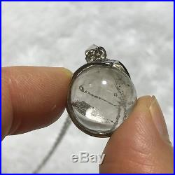 Moving Bubble Enhydro Clear Natural Quartz Crystal Silver Pendant Sphere ball