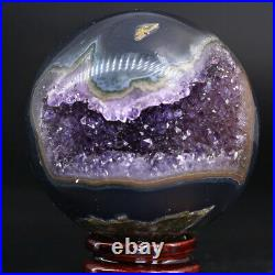 NATURAL Amethyst Geode Sphere Crystal Cluster Ball Healing Energy Decor Q40