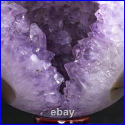 NATURAL Amethyst Geode Sphere Crystal Cluster Ball Healing Energy Decor Q49