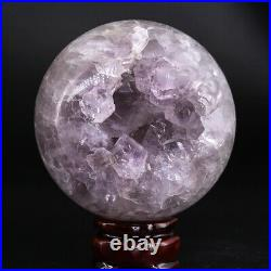 NATURAL Amethyst Geode Sphere Crystal Cluster Ball Healing Energy Decor Q52