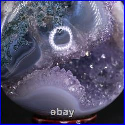 NATURAL Amethyst Geode Sphere Crystal Cluster Ball Healing Energy Decor Q53