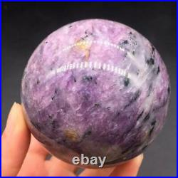 Natuaral Charoite Quartz Crystal Sphere Ball Healing Decoration+Stand 67-71mm