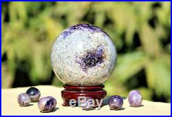 Natural A+ Large 110MM Blue Amethyst Crystal Healing Power Sphere Ball WithStand