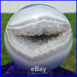 Natural AGATE Crystal Sphere with Clear Quartz Points Inside Geode Ball For Sale