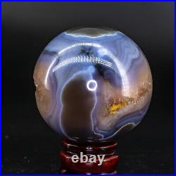 Natural Agate Geode Sphere Crystal Cluster Ball Decor Reiki Healing Stand Q18
