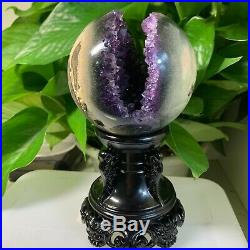 Natural Amethyst Geode Agate Bismuth Titanium Silicon Sphere Ball sent to base
