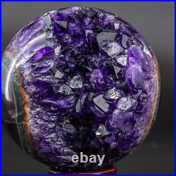 Natural Amethyst Geode Sphere Crystal Cluster Ball Decor Reiki Healing Stand Q12