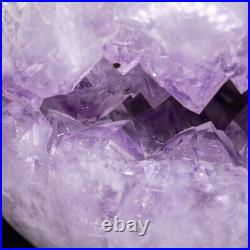 Natural Amethyst Geode Sphere Crystal Cluster Ball Healing Energy Decor Q22