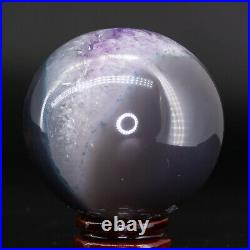 Natural Amethyst Geode Sphere Crystal Cluster Ball Healing Energy Decor Q32