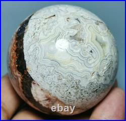 Natural Beautiful Mexican Crazy Lace Agate Geode Crystal Healing Sphere Ball