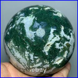 Natural Beautiful Moss Agate Geode Sphere Polished Crystal Ball Healing Stone
