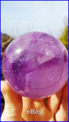 Natural Brazilian Amethyst Hand Carved & Polished Crystal Sphere Ball 463g