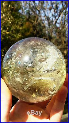 Natural Brazilian Citrine Hand Carved & Polished Crystal Sphere Ball 1072g