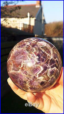 Natural Brazilian Dream Amethyst Hand Carved Polished Crystal Sphere Ball 987g