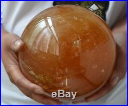 Natural Citrine Calcite Quartz Crystal Sphere Ball Healing Gemstone 200MM+Stand