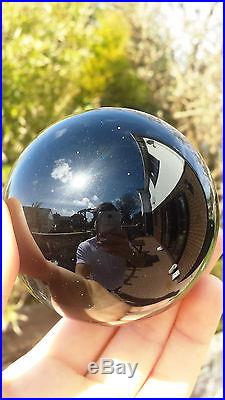 Natural Mexican Obsidian Hand Carved & Polished Crystal Sphere Ball 546g