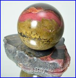 Natural RHODOCHROSITE Polished sphere 62 mm with stand ball #10561 KAZAKHSTAN