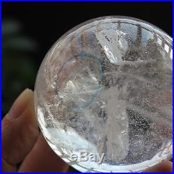 One EASILY VISIBLE MOVING Bubble Enhydro Natural Quartz Crystal Sphere Ball