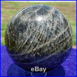 Our FINEST Ever Black Madonna MOONSTONE Healing Crystal Sphere Ball Center Eye