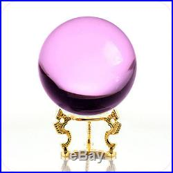 Pink (Rose) Crystal Ball 130mm 5 With GoldenDragon Stand & GiftPackage