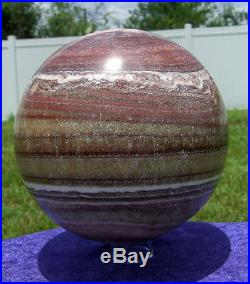 RED CALCITE Crystal Sphere Our LARGEST Ever Brown White Orange Delight Ball