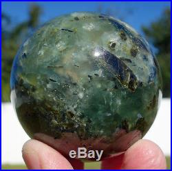 Rare Epidote and Green Tourmaline in Clear Quartz Crystal Sphere Ball