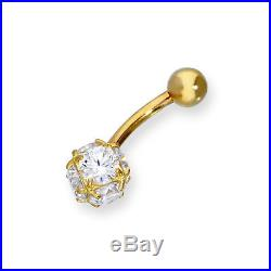 Real 375 9ct Gold & Clear CZ Crystal Sphere Ball End Belly Bar Orb Globe Tummy