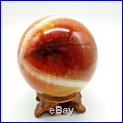 Red Carnelian Agate crystal Sphere Ball Display with Stand 80mm